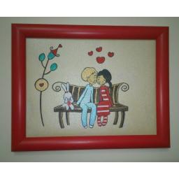نقاشی خانواده روی چرم