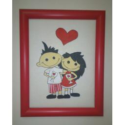 نقاشی دو عاشق روی چرم