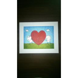 نقاشی قلب روی چرم