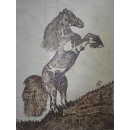 اسب سوخته کاری چوب