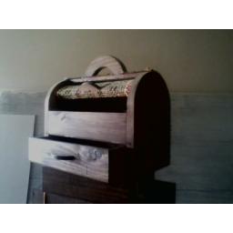 جعبه خیاطی چوبی و حصیری
