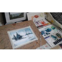 نقاشی آبرنگ در طرح و ابعاد دلخواه مشتری