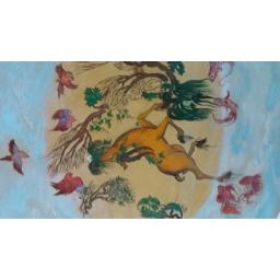 نقاشی روی چرم آکرولیک