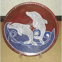 نقاشی روی سفال طرح دلفین