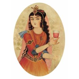 نقاشی روی چرم بانوی قاجاری