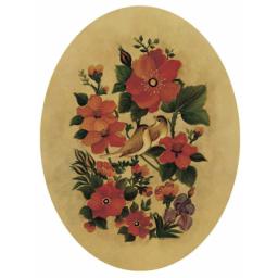 نقاشی روی چرم گل و مرغ