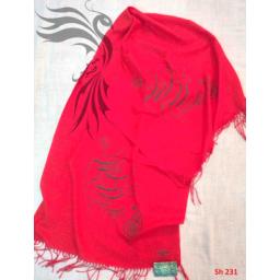 شال شعرنوشته به رنگ قرمز