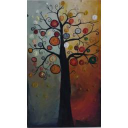 نقاشی روی چوب طرح درخت