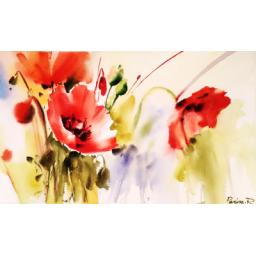 نقاشی آبرنگ و گواش، بدون قاب