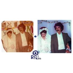 تبدیل و اصلاح خرابی عکس قدیمی عروسی به رنگی