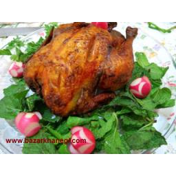 مرغ شکم پر با سبزی محلی