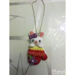 گردن آویز خمیر چینی فانتزی خرگوشک و دستکش