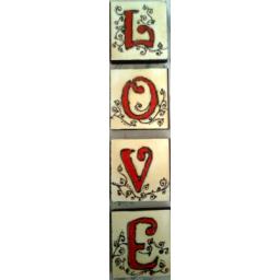 نقاشی روی چوب طرح LOVE