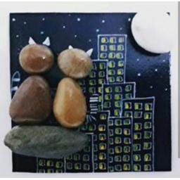 نقاشی روی سنگ گربه