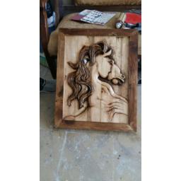 تابلو چوبی اسب