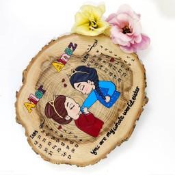 تابلو چوبی تاریخ تولد دوتایی