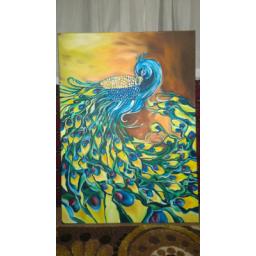 نقاشی رنگ روغن طاووس بسیار زیبا