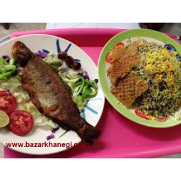 سبزی پلو با ماهی قزل آلا و تیلا پیا