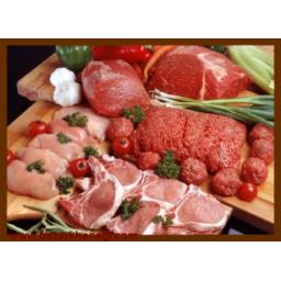 گوشت گاو ، گوسفند ، مرغ و ماهی