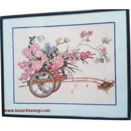 تابلو گلدوزی با دست - چرخ گلدار