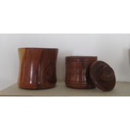 لیوان و قندان چوبی عنابی
